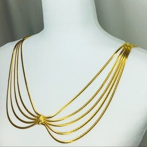 Peter Pan collar gold necklace belt body jewelry
